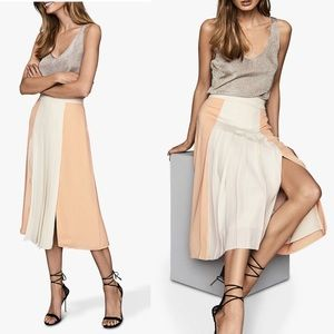 REISS Skirt Abigail Box Pleat Colorblock Midi Slit